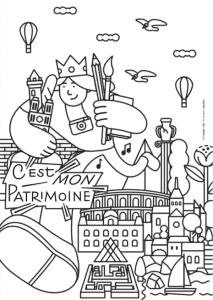 Coloriage en format A4 de l'affiche de C'est mon Patrimoine !